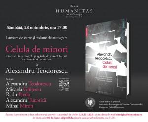 """Afişul evenimentului de lansare a volumului """"Celula de minori"""" de Alexandru Teodorescu"""
