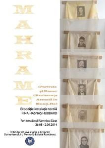 Afişul expoziţiei MAHRAME, Râmnicu Sărat, august 2014