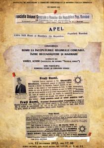 Conferinţa Romii la începuturile regimului comunist. Între recunoaştere şi ignorare, 2011