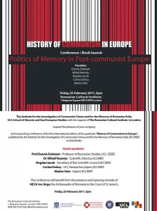 "Lansarea volumului ""Politics of memory in post-communist Europe"", 2011"