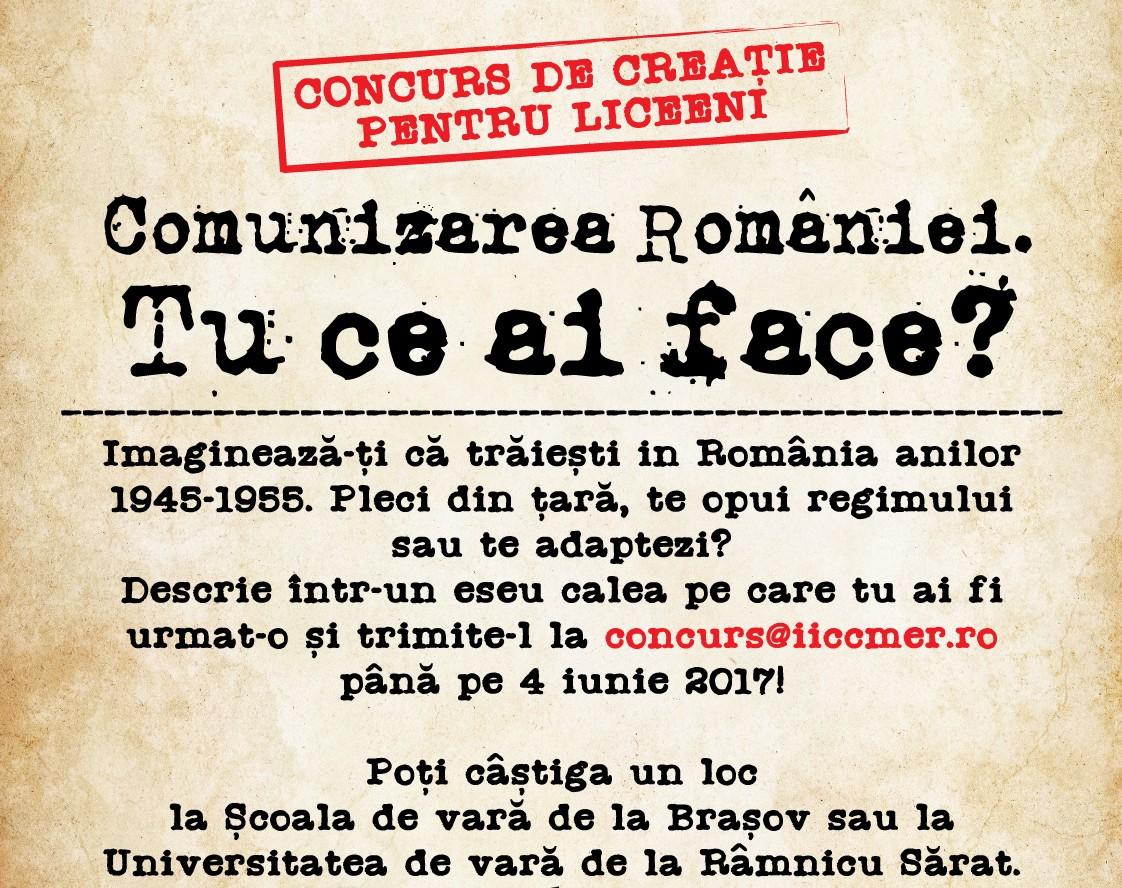 Afis concurs IICCMER Comunizarea Romaniei_mai17